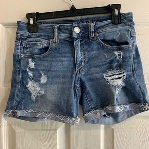 American Eagle midi denim shorts distressed